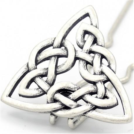 Barrette chignon triangle celtique argenté mat