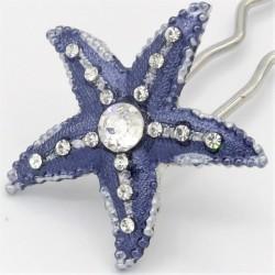 Barrette à cheveux chignon étoile bleu marine