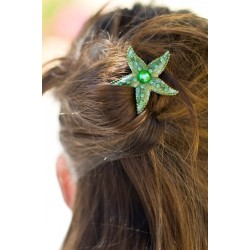 Barrette chignon étoile verte