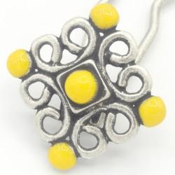 Epingle cheveux métal émaillé jaune