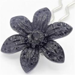 Barrette fleur VIP noire