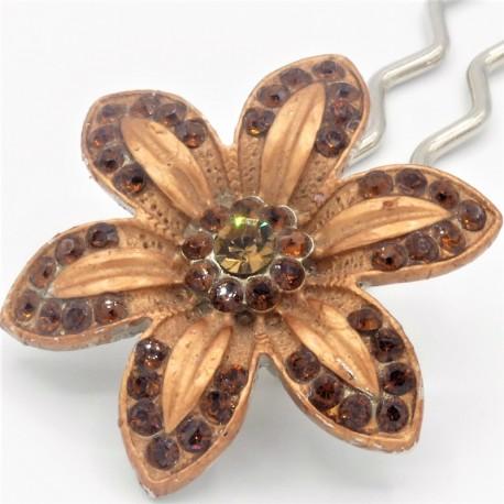 Barrette fleur VIP marron