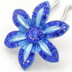 Barrette fleur VIP bleue