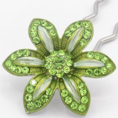 Barrette fleur VIP verte