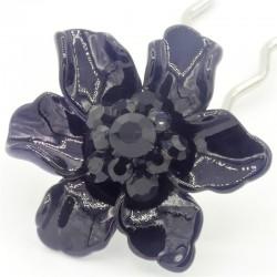 Barrette cheveux fleur Marie noire