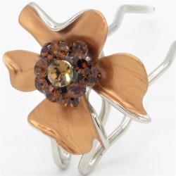 Epingle à chignon fleur marron