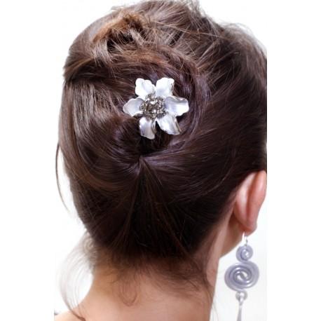 Barrette cheveux fleur Marie argentée