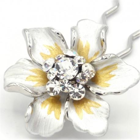 Barrette cheveux fleur Marie blanche