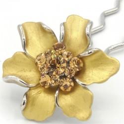 Barrette cheveux fleur Marie dorée