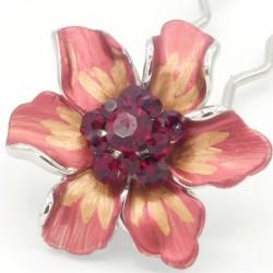 Barrette cheveux fleur Marie rouge