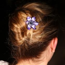 Barrettes cheveux fleur Marie mauve et bleue