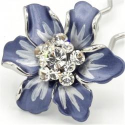 Barrettes cheveux fleur Marie bleue marine
