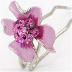 Epingle à cheveux fleur rose