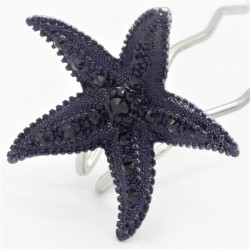 Pince chignon grande étoile noire