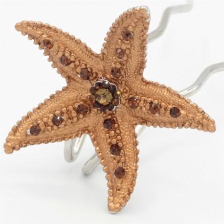 Pince chignon grande étoile marron