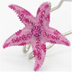 Pince chignon grande étoile rose