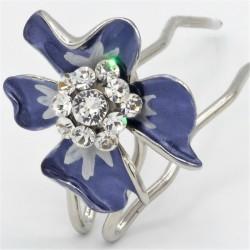Epingle à cheveux fleur bleue marine
