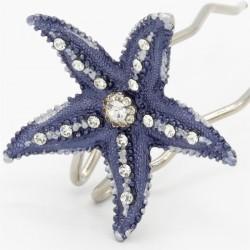 Pince chignon grande étoile bleue marine