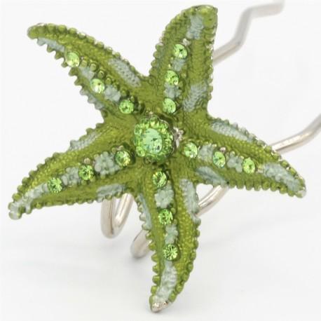 Pince chignon grande étoile verte