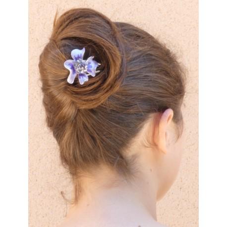 Accessoire cheveux fleur mauve