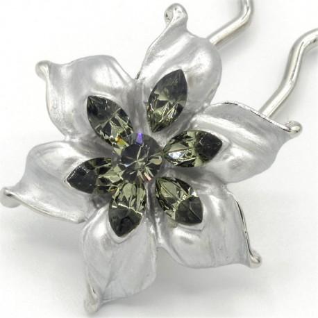 Barrette chignon fleur argentée