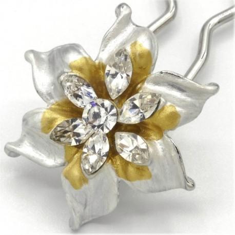 Barrette chignon fleur oblongue blanche