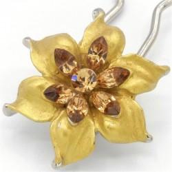 Barrette chignon fleur dorée