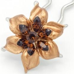 Barrette chignon fleur oblongue marron