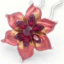 Barrette chignon fleur oblongue rouge
