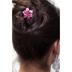 Barrette chignon fleur oblongue rose
