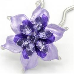 Barrette chignon fleur oblongue mauve