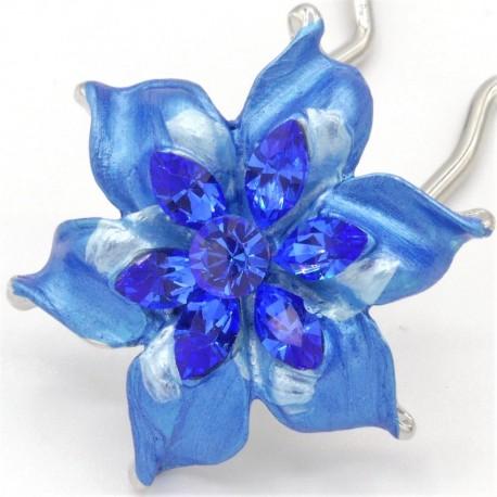 Barrette chignon fleur oblongue bleue