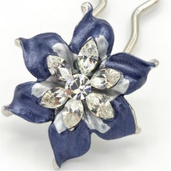Barrette chignon fleur oblongue bleue marine