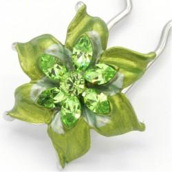 Barrette-chignon-fleur-oblongue-verte