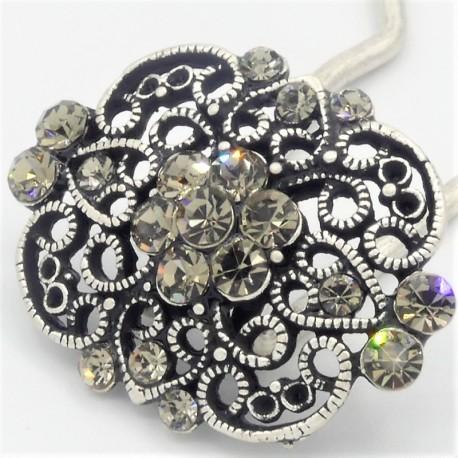 Epingle à cheveux pour chignon bijoux ancien grise