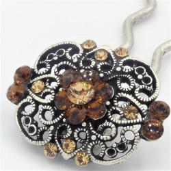 Epingle à cheveux pour chignon mariage bijoux ancien dorée ambre