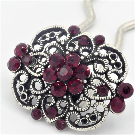 Epingle à cheveux pour chignon bijoux ancien rouge