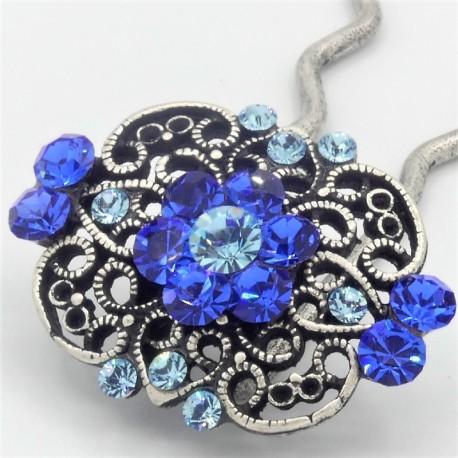 Epingle à cheveux pour chignon bijoux ancien bleue