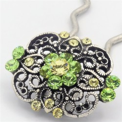 Epingle à cheveux pour chignon bijoux ancien verte