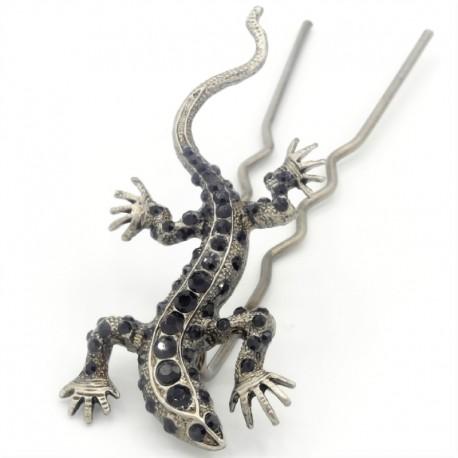 Pique chignon bijoux de cheveux salamandre glamour noire