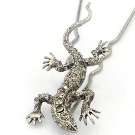 Pique chignon bijoux de cheveux salamandre glamour grise