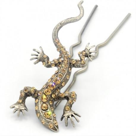 Pique chignon bijoux de cheveux salamandre glamour dorée