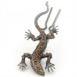 Pique chignon bijoux de cheveux salamandre glamour marron