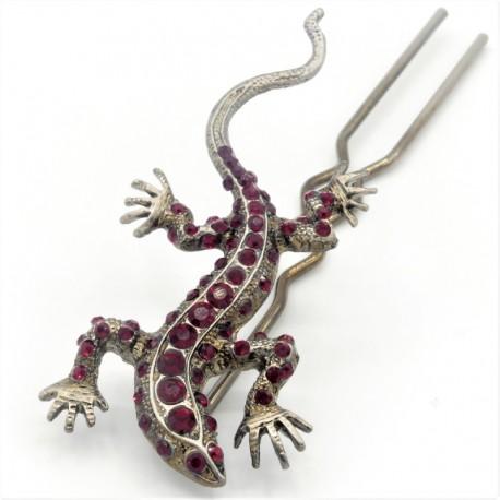 Pique chignon bijoux de cheveux salamandre glamour rouge