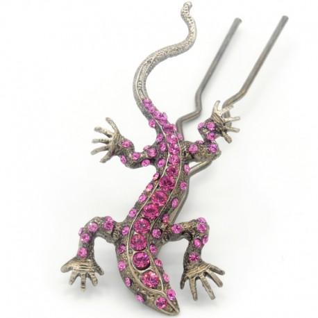 Pique chignon bijoux de cheveux salamandre glamour rose