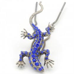 Pique chignon bijoux de cheveux salamandre glamour bleue