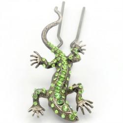 Pique chignon bijoux de cheveux salamandre glamour verte