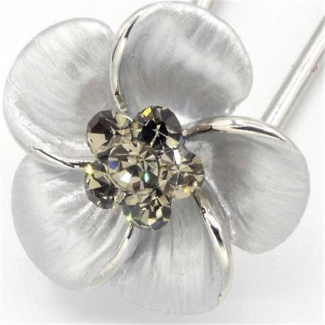 Barrette cheveux petite fleur argentée
