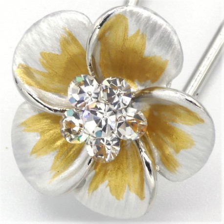 Barrette cheveux petite fleur blanche