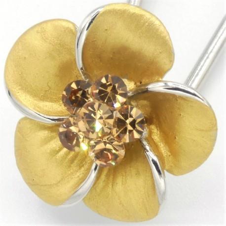 Barrette cheveux petite fleur dorée